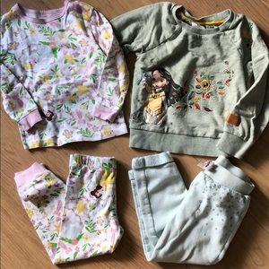 Disney Toddler Girl PJ Set and Pocahontas Sweater